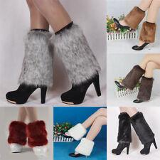 Women Warm Faux Fur Leg Warmers Leggings Furry Boot Shoe Cover Socks Toppers