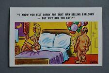 R&L Postcard: Sunny Pedro Comic 184 Naked Bald Man & Balloons Big Breast Woman