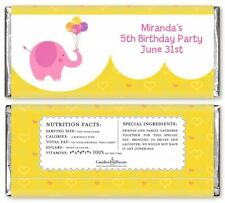 Elephant Pink Personalized Birthday Party Candy Bar Wrappers - Candy Favor