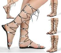 WOMENS LADIES KNEE HIGH CUT OUT LACE UP FLAT SANDALS GLADIATOR SUMMER SHOES SIZE