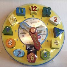 THE Children's PLACE Teaching Clock Time Learning Wooden Shape Sorting Clock