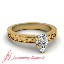 1 Carat Chain Pattern Solitaire Engagement Ring With Pear Shaped Diamond Center