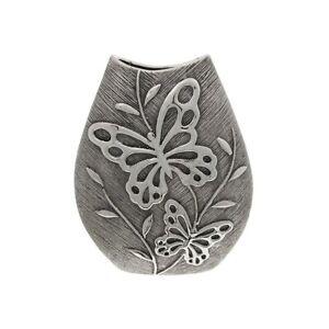 Shudehill Giftware Gunmetal Finish Butterfly Design Ceramic Oval Vase - 33cm