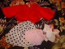 4piéces poupée vintage 18-20cm ,bella gégé ,autre ,veste rouge  +culotte,jupe