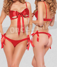 Sexy Red Satin Bow Underwear Babydoll UNWRAP Open Bust Cup Bra Top WIRED Sz S-M