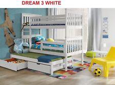 White Bunk Beds Wooden Solid Pine Childrens Marttresses Storage 3 Sleeper sale