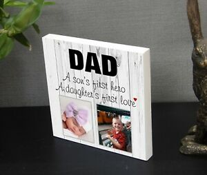 Personalised Dad Daddy Grandad 'Hero' Plaque Photo Block Present Gift