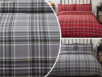 Tartan Highland Check Soft 100% Brushed Cotton Flannelette Duvet Quilt Cover Set
