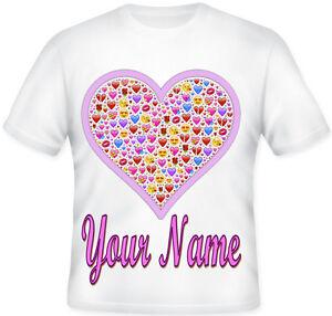 Girls Kids Personalised Emoji Pink Heart T Shirt Great Gift idea!!
