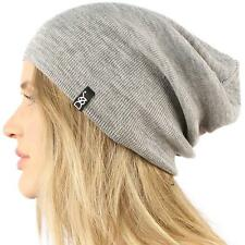 Unisex Soft Thin Stretchy Knit Long Beanie Slouchy Slouch Skull Hat Cap Black