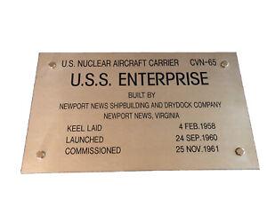 Ultra Rare U.S. NUCLEAR AIRCRAFT CARRIER CVN-65 U.S.S. ENTERPRISE Plaque