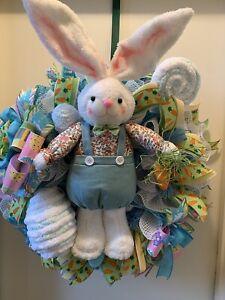 Bunny Door Wreath, Bunny Wreath, Bunny Decor, Boy Bunny Wreath, Easter Wreath,