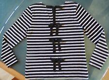 J. Crew Black White Stripe Cotton Long Sleeve Casual Top Sz M, Back Bows, MINT!