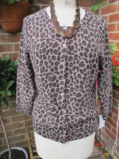 Button Animal Print 3/4 Sleeve Jumpers & Cardigans for Women