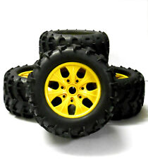 810004 1/8 Scale Off Road RC Monster Truck Wheels and Tyres x 4 Yellow