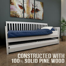 Wooden Solid Pine Sofa Bed Frame Trundle Daybed Teenager Kids Single Timber Slat