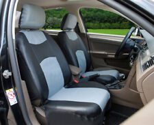 2 Front Black Gray Leatherette Car Seat Cushions Covers - Universal #C15904