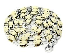 Mens Box Link Chain Two Tone Stainless Steel 24 Inches Necklace Fashion Jewelry