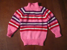 Girl's Handknitted Mockneck Sweater Size 4-5, Stripes Bright Pinks