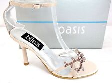 BLISS-OASIS LADIES NUDE SATIN DIAMANTE HEELS ANKLE STRAP SANDALS UK 8 - EUR 41