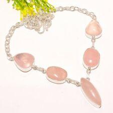 "Rose Quartz Gemstone Ethnic Silver Fashion Jewelry Necklace 18"" SN1205"