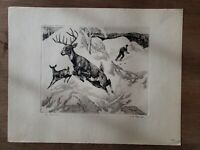 """The Intruder"" Signed Art Skier & Deer Etching by R.H. Palenske (1884-1954)"