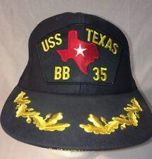US NAVY Cap Original USS Texas Double Eggs Hat Navy Blue/Gold Leaf
