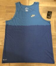 NWT Men's Sz XL NIKE Athletic Cut Blue Running Tank Top 922174 $40 Retail