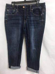 AMERICAN EAGLE Slouchy Stretch Straight Leg Mid Rise Blue Jeans Women's Size 6 R
