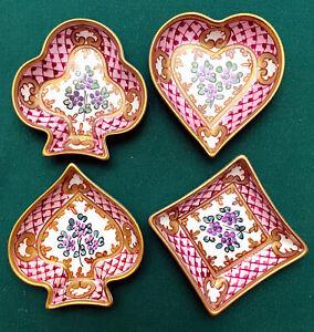 Limoges Card Suits 4-Dish Set