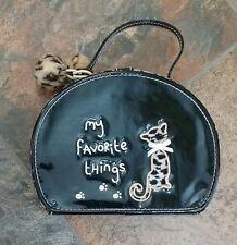 Gymboree Classic Glamour Kitty Purse Black Shiny Patent Leopard Hair Pony Pom
