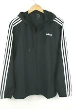 Adidas Essentials Windbreaker Woven Track Jacket Top Black White 3 Stripes Large