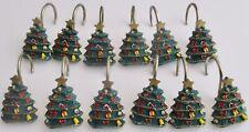 Vintage Set of Christmas Tree Shower Curtain Hooks (Set Of 12) Resin