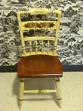 Lambert Hitchcock Inn Chair Hand Decorated Ivory and Maple Stencils