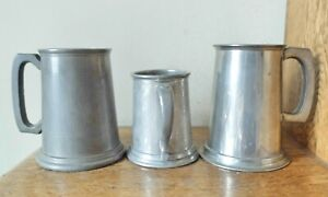 3 LOVELY VINTAGE Cornwall Sheffield ENGLISH PEWTER BEER TANKARDS 1 & 1/2 PINT
