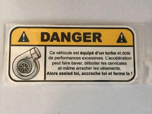 Autocollant stickers 12cm Turbo Danger Humour Pare-brise