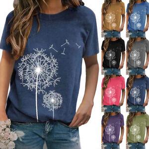 UK Summer Womens Casual Dandelion Print Short Sleeve T-shirt Ladies Blouse Tops