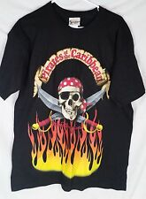Walt Disney World Pirates of the Caribbean black Tee shirt mens Skull size L
