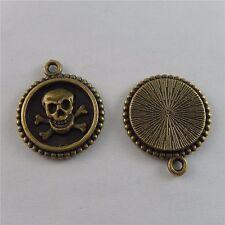 Antique Bronze Alloy Skull Round Pendants Charms Jewelry Crafts 10pcs 50690