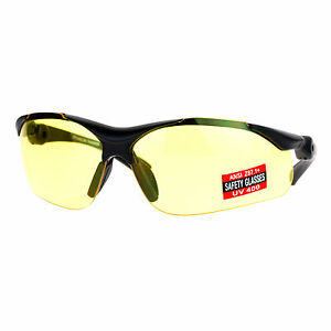 Yellow Lens Protective Safety Glasses UV 400 ANSI Z87.1+ Up Down Temple
