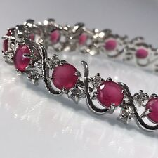 White Gold Finish Created Ruby Red Tennis Bracelet Bridal Silver Tone on Brass