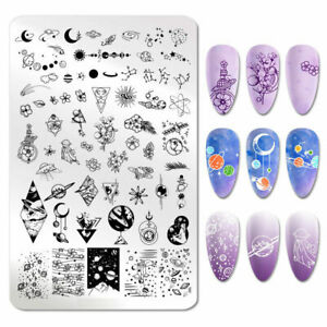 Nail Art Stamping Plates Space Galaxy Moon Astrology Manicure Stamp Stencil AU