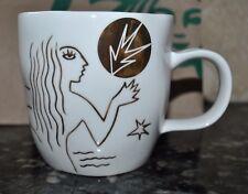 New Starbucks MUG Anniversary Etched GOLD MERMAID 12 oz 2013 Bone China Artwork