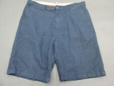 Island Shores Size 36 Mens Blue Linen Cotton Summer Chino Shorts 327