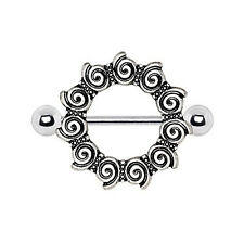 316L Stainless Steel Antique Tribal Multi-Spiral WildKlass Silver Nipple Shield