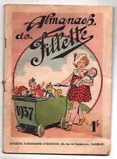 Almanach de  FILLETTE 1937 - Couverture fillette et ses poupées. Bel état