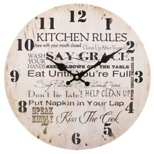 WALL CLOCK KITCHEN RULES VINTAGE TEXT DESIGN DISTRESSED CREAM BLACK 34CM
