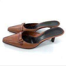 Cole Haan Cognac Brown Mule Slides Size 9 Buckle Kitten Heel Women's