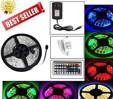 5M SMD RGB 5050 Waterproof 150 LED Strip Light 44 Key Remote 12V 5A Power Kit US