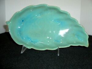 Frankoma Leaf Medium Bowl Turquoise ~ Ada Clay